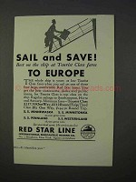 1934 Red Star Line Cruise Ad - Sail and Save