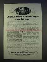 1942 WWII Buick Ad - Farm, Factory, Finished Engine