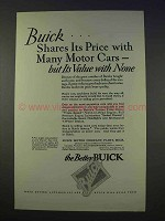 1926 Buick Car Ad - Shares Price With Many Motor Cars