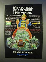 1983 Monroe Shocks Ad - Pothole Full of Dough