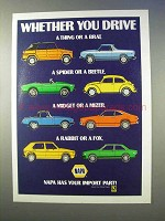 1982 NAPA Auto Parts Ad - Thing, Brat, Spider, Beetle
