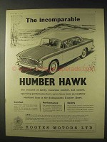 1958 Humber Hawk Car Ad - Incomparable
