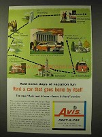 1957 Avis Rent-A-Car Ad - Goes Home By Itself