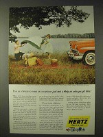 1956 Hertz Rent-A-Car Ad - Free As A Breeze To Roam