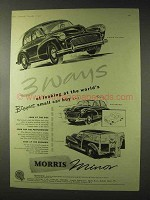 1955 Morris Minor Saloon, Convertible, Traveller Car Ad