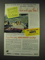 1952 Hertz Rent-A-Car Ad - Put in Your Vacation Plans