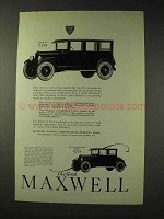 1923 Maxwell Sedan, Four-passenger Coupe Car Ad