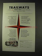 1954 Trailways Bus Ad - Thru-Bus Service Between Cities