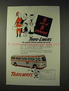 1953 Trailways Bus Ad -  5 Out of 5 Preferred Thru-Liners