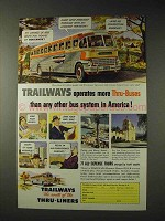 1951 Trailways Bus Ad - Operates More Thru-Buses