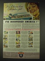1936 Greyhound Bus Ad - I've Discovered America!