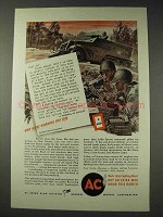 1945 WWII AC Spark Plugs Ad - .50 Caliber Machine Gun