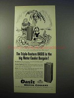 1953 Oasis Water Cooler Ad - Triple-Feature Bargain