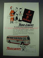 1953 Trailways Bus Ad, 5 out of 5 Preferred Thru-Liners
