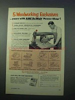 1953 AMF De Walt Power Shop Tool Ad - Woodworking