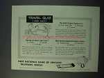 1953 First National Bank of Chicago Travelers Checks Ad