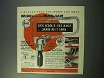 1953 Dremel Electric Moto-Saw Ad - Cuts Like Magic