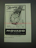 1953 Movado Calendolux Watch Ad - Self-Winding