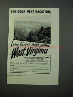 1953 West Virginia Tourism Ad - For Your Vacation