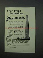 1953 Massachusetts Tourism Ad - Proud Possessions