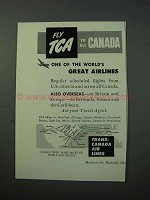 1953 TCA Airlines Ad - Fly to All Canada