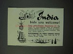 1953 India Tourism Ad - Bids You Welcome