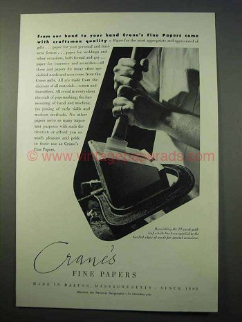 1952 Crane's Fine Paper Ad - With Craftsman Quality