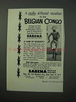 1952 Sabena Airlines Ad - Vacation to Belgian Congo