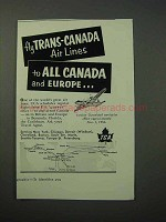 1952 TCA Air Lines Ad - to All Canada and Europe
