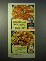 1951 Hormel SPAM, Dinty Moore Beef Stew Ad - Creole