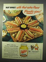 1951 French's Mustard Ad - Hot Dogs With Extra Flavor