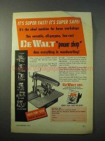 1951 De Walt Radial Power Saw Ad - It's Super Fast!