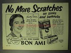 1951 Bon Ami Cleanser Ad - No More Scratches!