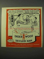 1951 Underwood Deviled Ham Ad - What Kind of Television