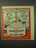 1951 Underwood Deviled Ham Ad - Stow Away