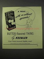 1951 Keebler Butter-Flavored Thins Cracker Ad - a Treat