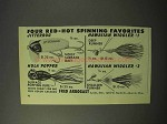 1951 Fred Arbogast Fishing Lures Ad - Hawaiian Wiggler