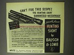 1951 Bausch & Lomb Variable Power Hunting Sight Advertisement