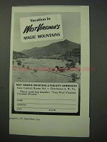 1951 West Virginia Tourism Ad - Magic Mountains
