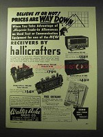 1950 Hallicrafters Receivers Ad - ST-74, S-78, SX-62
