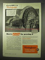 1950 Westinghouse Hiigh-Power Laboratory Ad - Proving