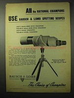 1950 Bausch & Lomb Spotting Scope Ad - All Champions