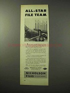 1950 Nicholson Black Diamond Files Ad - All-Star Team