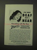 1950 Zenith Miniature Hearing Aid Ad - I'm Very Deaf