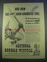 1955 National Benzole Mixture Petrol Gasoline Ad - High-Aromatic