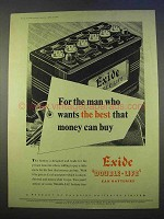 1955 Exide Double-Life Car Battery Ad - The Best