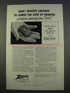 1955 Zenith 50-X Hearing Aid Ad - Crusade to Lower Cost