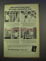 1955 Armstrong Temlok Ceiling & Panel Ad - Extra Space