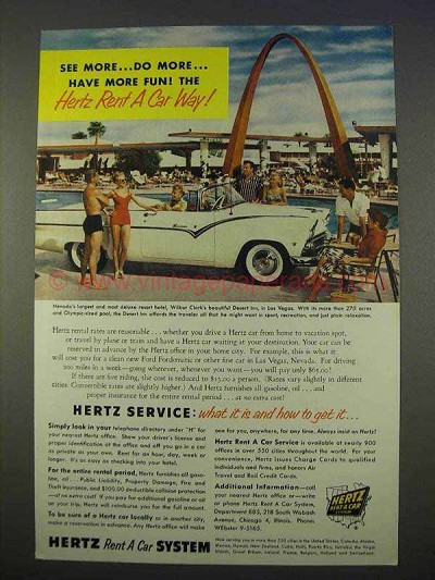 1955 hertz rent a car ad desert inn las vegas nv. Black Bedroom Furniture Sets. Home Design Ideas