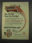 1955 Sinclair Extra Duty Motor Oil Ad - Adds Power